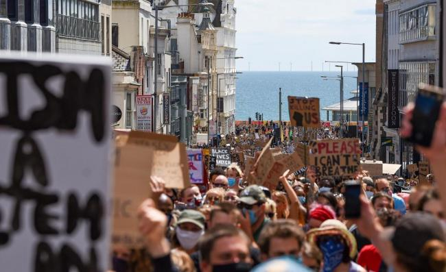 Protesters at the Black Lives Matter march in Brighton on June 13