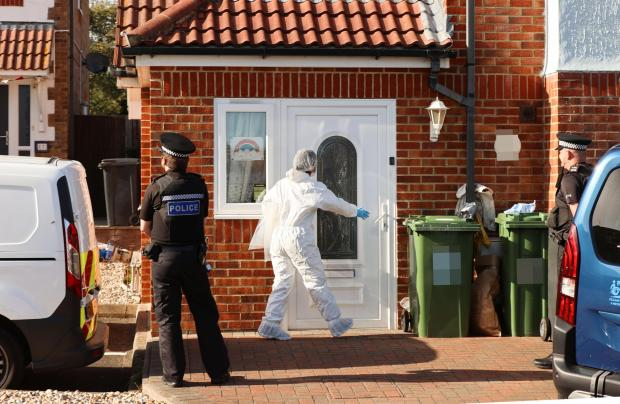 The Argus: The scene in Broad Oak Close, Eastbourne, after Jackie Hoadley's body was found