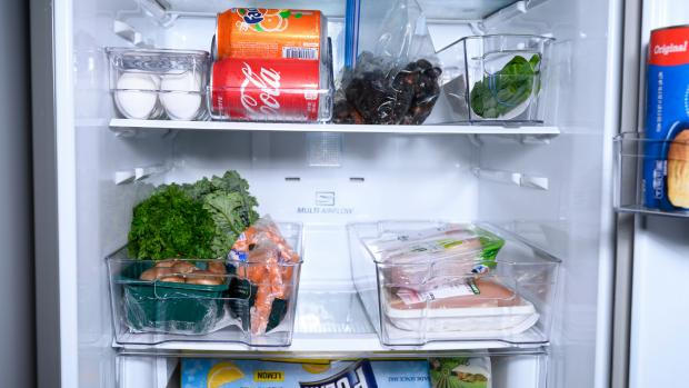 The Argus: Use an organising set to create more storage zones in your fridge. Credit: Reviewed / Betsey Goldwasser