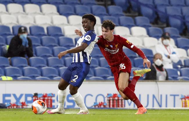 Tariq Lamptey gets forward for Albion against Liverpool