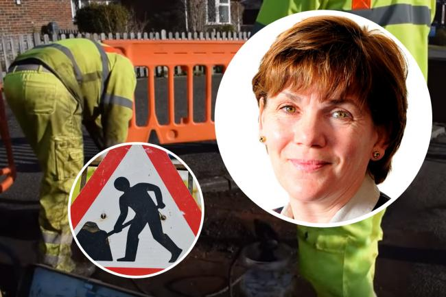 Road repairs and, inset, Councillor Claire Dowling
