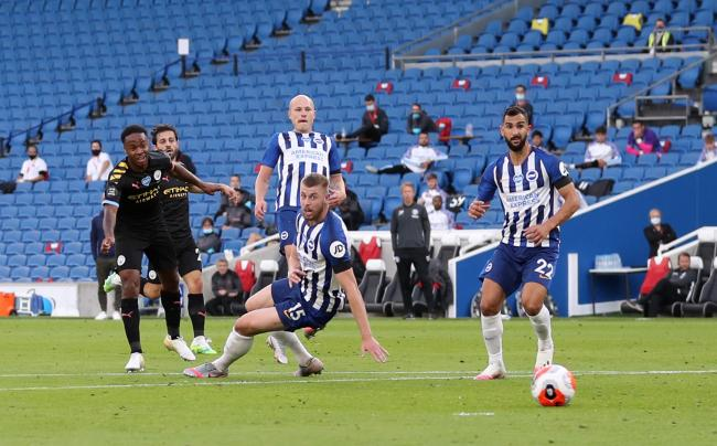 Albion cannot stop Raheem Sterling as he scores the first of City's five goals and his own treble