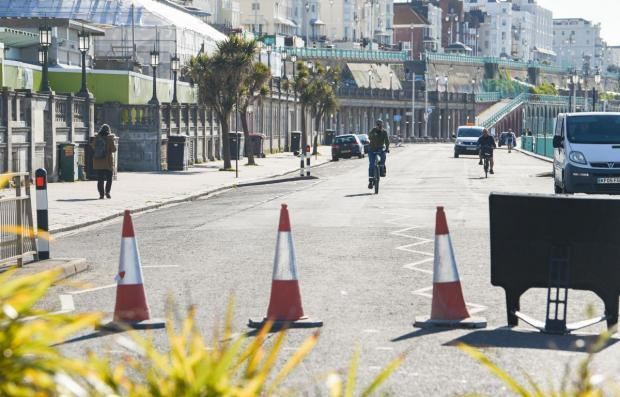 The seafront road was closed to cars during lockdown