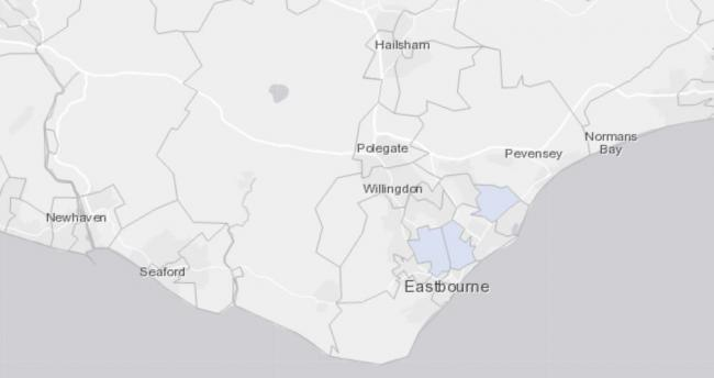 The map showing areas in Eastbourne where more than three cases of Covid-19 were reported in the week from July 13 until July 19