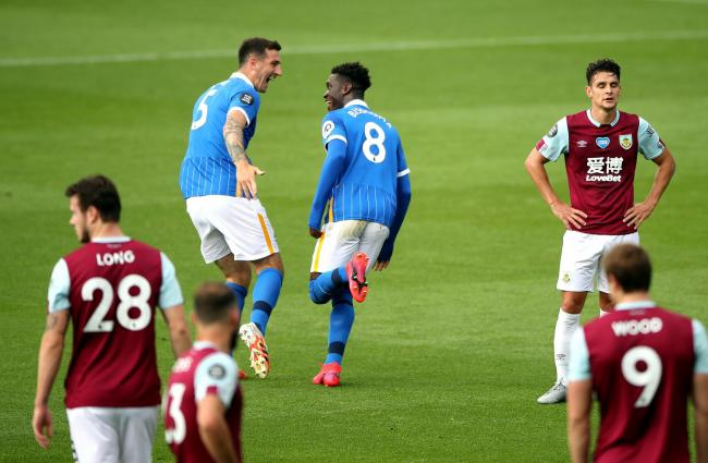 Lewis Dunk and Yves Bissouma enjoy the latter's opening goal at Turf Moor