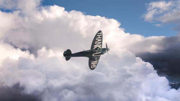 The Argus: The blue NHS Spitfire could be seen in Sussex skies today