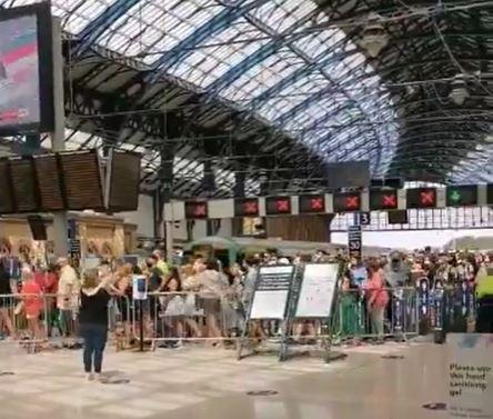 Crowds at Brighton railway station today. Credit: Samuel Barton