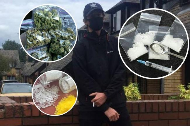 The Argus's mystery drug buyer and, inset, some of the substances offered on Instagram