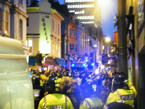 KETTLING: Police barricade the protesters in North Road this evening. Picture by James Devonport