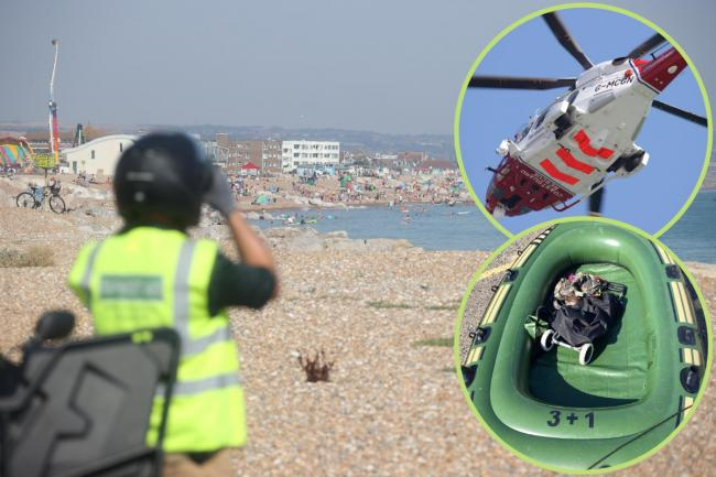 The body of a man has been recovered off Brighton after an empty dinghy was found in Lancing