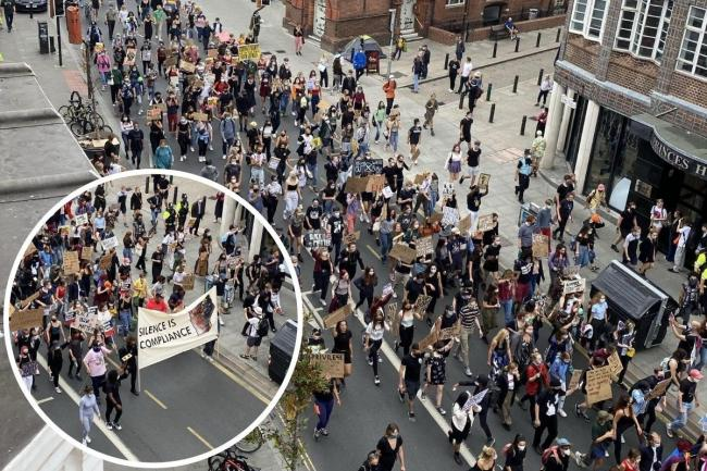 Black Lives Matter marchers through Brighton city centre on August 15, 2020. Picture by  Sergio Visco