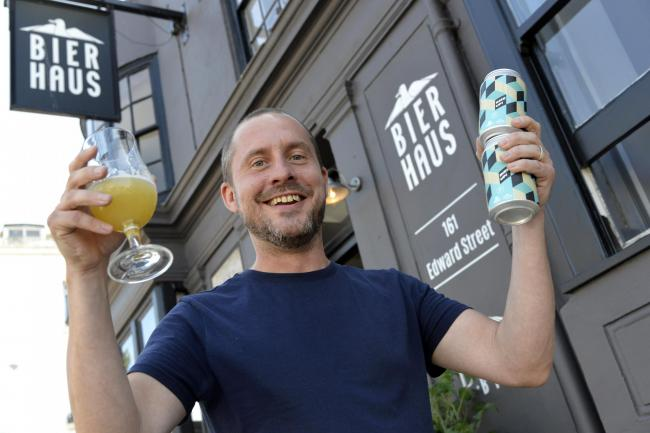 Brighton Bier director Ollie Fisher,with his latest bier.    RIZE UP! - Brighton Bier, Magic Rock, Wylam Collab Launch..