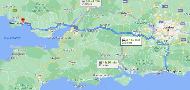The Argus: The distance between Brighton and Swansea. Source: Google Maps