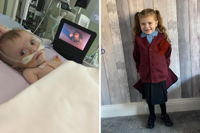 Imogen as a baby, when she had a bilateral lung transplant, and on her first day of school this week