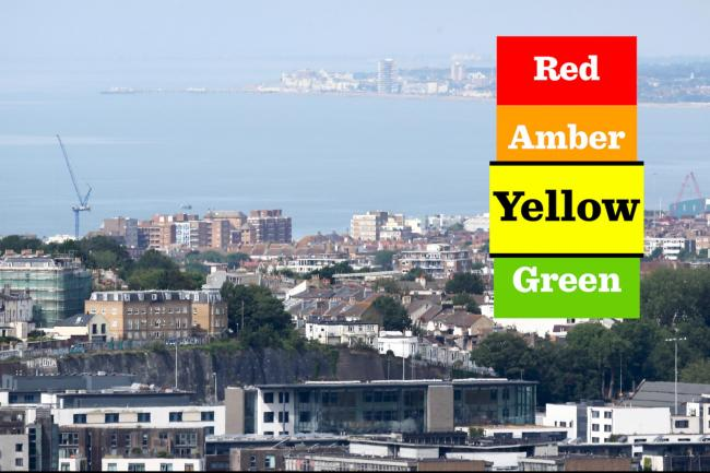 Brighton and Hove has been put on a yellow warning