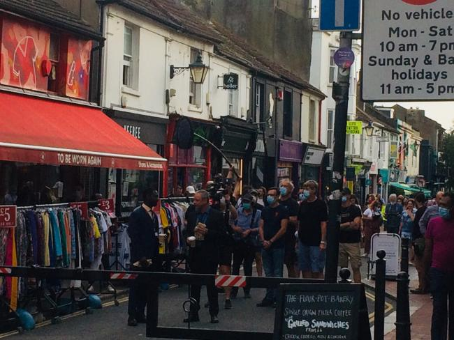 A camera crew were filming new drama series Grace starring John Simm today in Sydney Street, Brighton