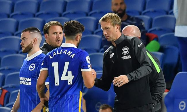 Graham Potter has a word with Adam Lallana as his Albion debut is cut short