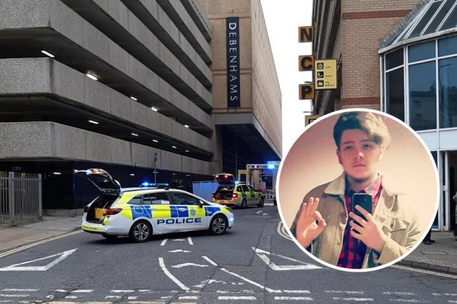 Milosz Golasa, inset, died on New Year's Day after falling from the top of Churchill Square car park in Brighton