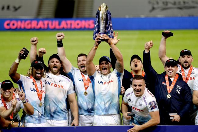 Sale Sharks celebrate their Gallagher Premiership Cup final win