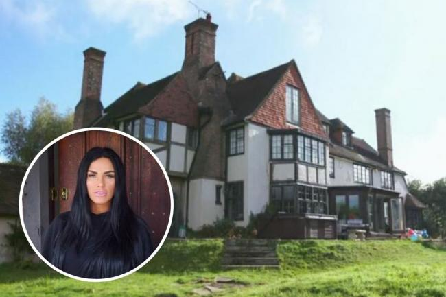 Katie Price, inset, and her property in Horsham
