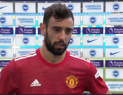 Bruno Fernandes speaking after the Man U vs Brighton game
