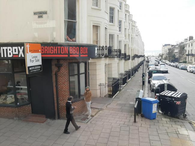 The former Pitbox BBQ shop in Western Road, Hove, is up for sale