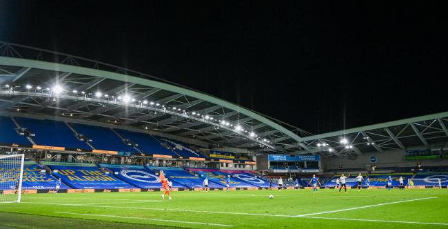 The EFL Carabao Cup 2nd Round match between Brighton and Hove Albion and Portsmouth behind closed doors at the Amex Stadium , Brighton , 17 September 2020 .  - Credit Simon Dack..Editorial use only. No merchandising. For Football images FA and Premier Lea