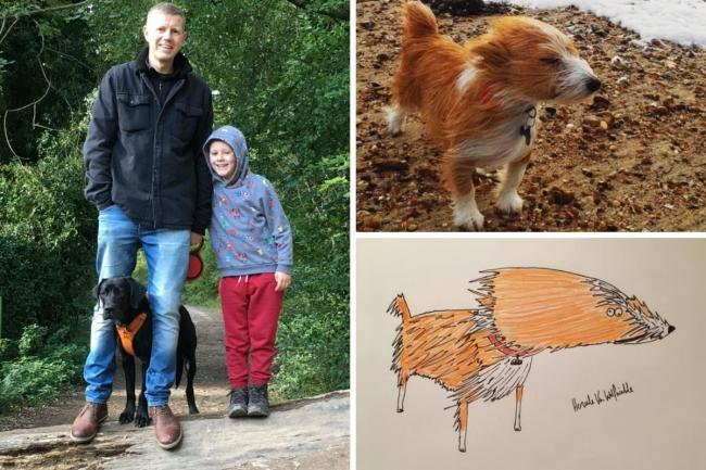 Phil Heckels, aka Hercule Van Wolfwinkle, with his son Sam and their dog Narla, and one of his pet portrait commissions
