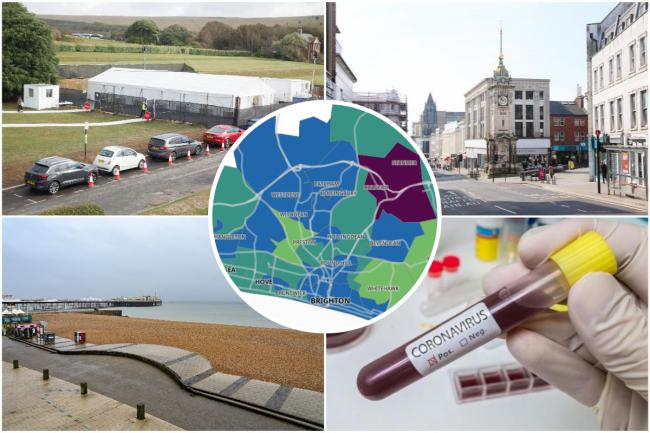 An interactive map has used Public Health England figures to show possible coronavirus 'hotspots' in Brighton and Hove, as well as across Sussex