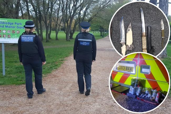 Eastbourne Police have claimed knives, seized alcohol from underage drinkers and dispersed a large group of young people during half term