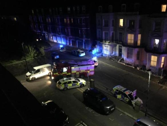 The scene in St Margarets Road, St Leonards, after a stabbing in April 2020