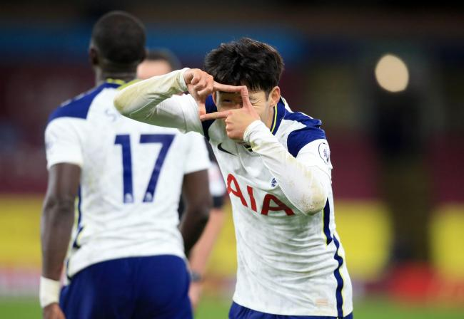 Tottenham Hotspur's Son Heung-min celebrates scoring his side's first goal of the game during the Premier League match at Turf Moor, Burnley. PA Photo. Picture date: Monday October 26, 2020. See PA story SOCCER Burnley. Photo credit should read: L