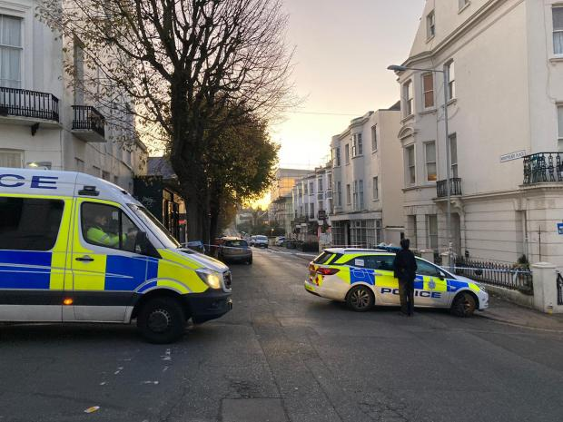 The Argus: Police block the junction of Montpelier Place and Norfolk Road following a late-night mass brawl