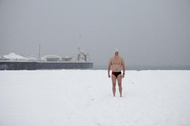 Swimmers braved the cold to go for a dip in Brighton