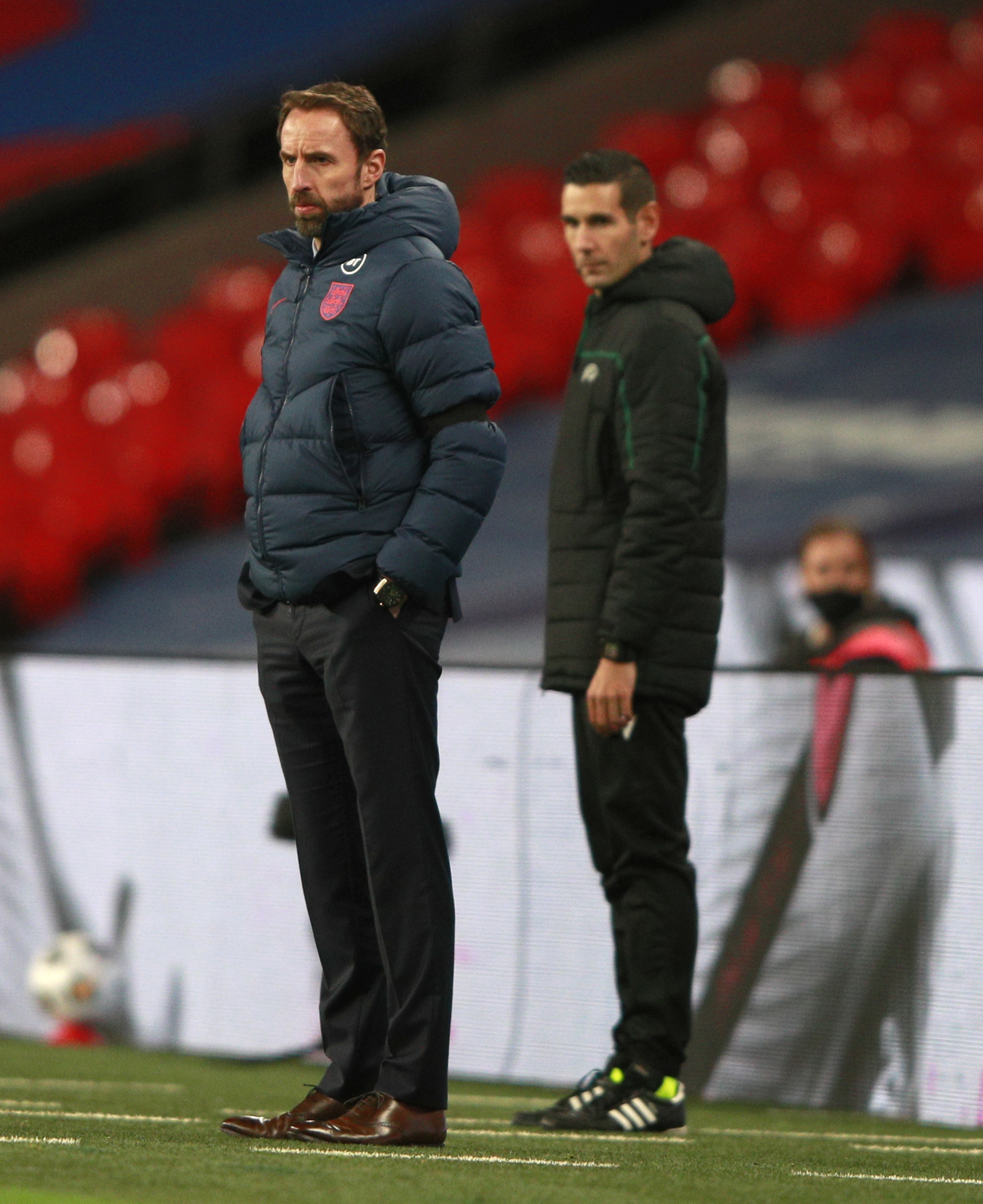 England manager Gareth Southgate (left) on the touchline during the UEFA Nations League Group A2 match at Wembley Stadium, London. PA Photo. Picture date: Wednesday November 18, 2020. See PA story SOCCER England. Photo credit should read: Ian Walton/PA Wi