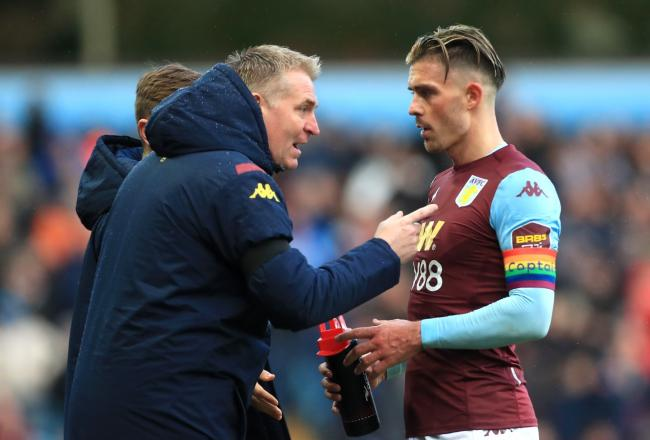 Jack Grealish with Dean Smith
