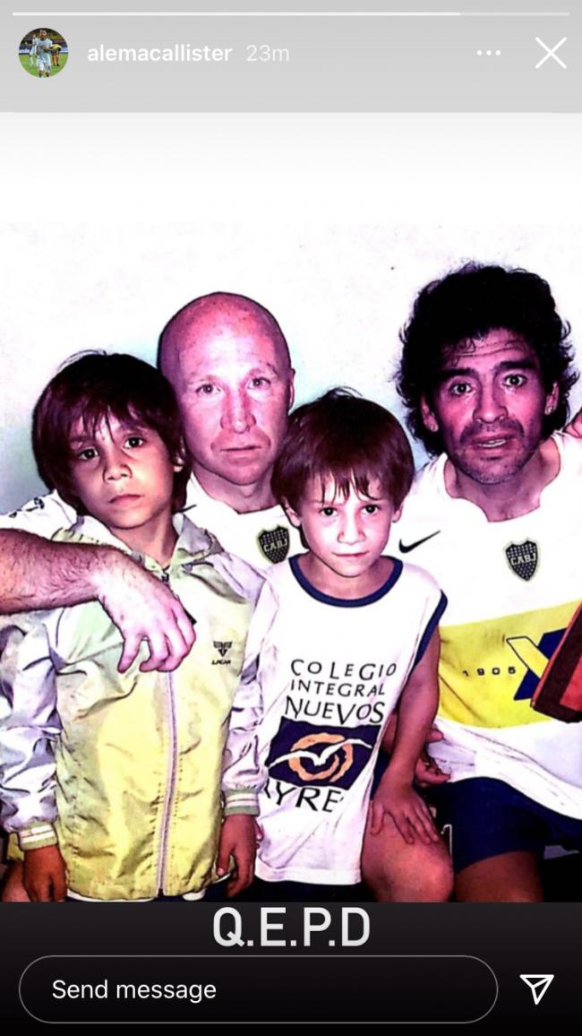 Alexis Mac Allister tonight posted a photo of himself and brother Kevin as young boys with their father Carlos and Diego Maradona at Boca Juniors