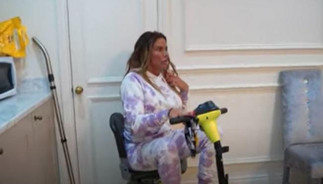 Katie Price was startled when her daughter spied the rat underneath her scooter wheel