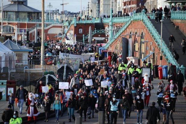 The Argus: The coronavirus protest in Brighton today