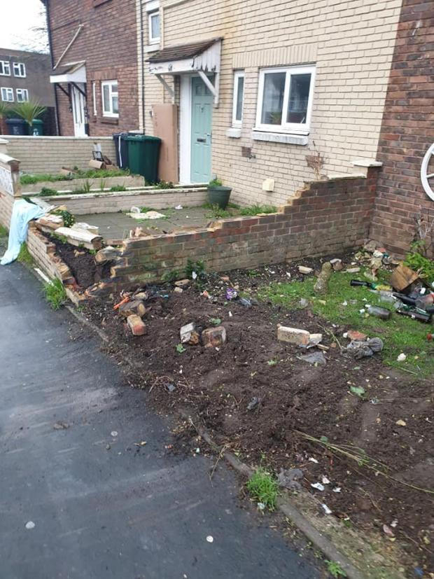 The Argus: A next door neighbours wall was also demolished in the crash