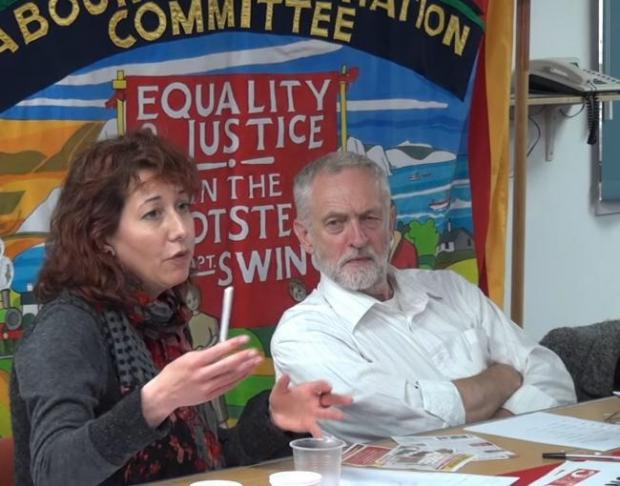 The Argus: Brighton and Hove Labour leader Nancy Platts with Jeremy Corbyn Credit: LRC Sussex