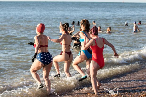 The Argus: Brave swimmers took to the water throughout the morning