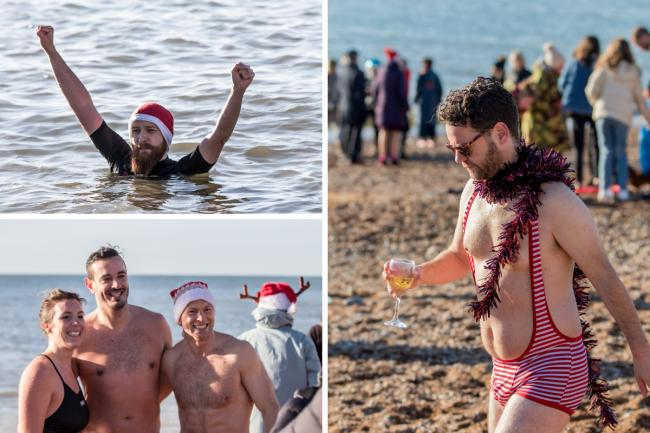 Swimmers with Santa hats braved the chill water in Brighton.
