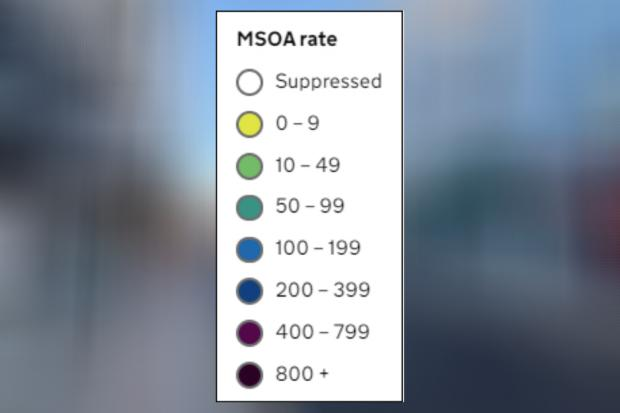 The Argus: A key showing how different MSOA are shaded depending on their weekly coronavirus rate