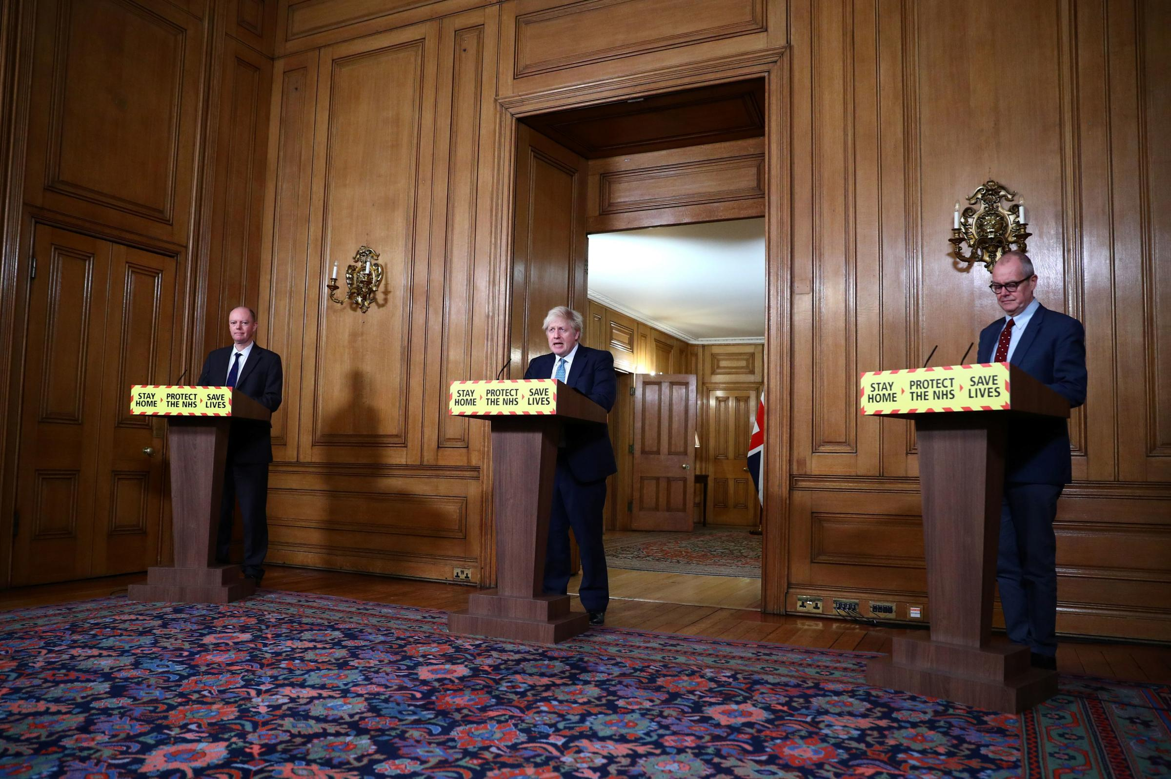 (Left to right) Chief Medical Officer Chris Whitty, Prime Minister Boris Johnson and Chief scientific adviser Sir Patrick Vallance during a media briefing on coronavirus (COVID-19) in Downing Street, London. PA Photo. Picture date: Tuesday January 5, 2021