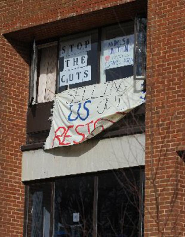 PROTEST: Banners are unfurled during last week's occupation of Sussex House