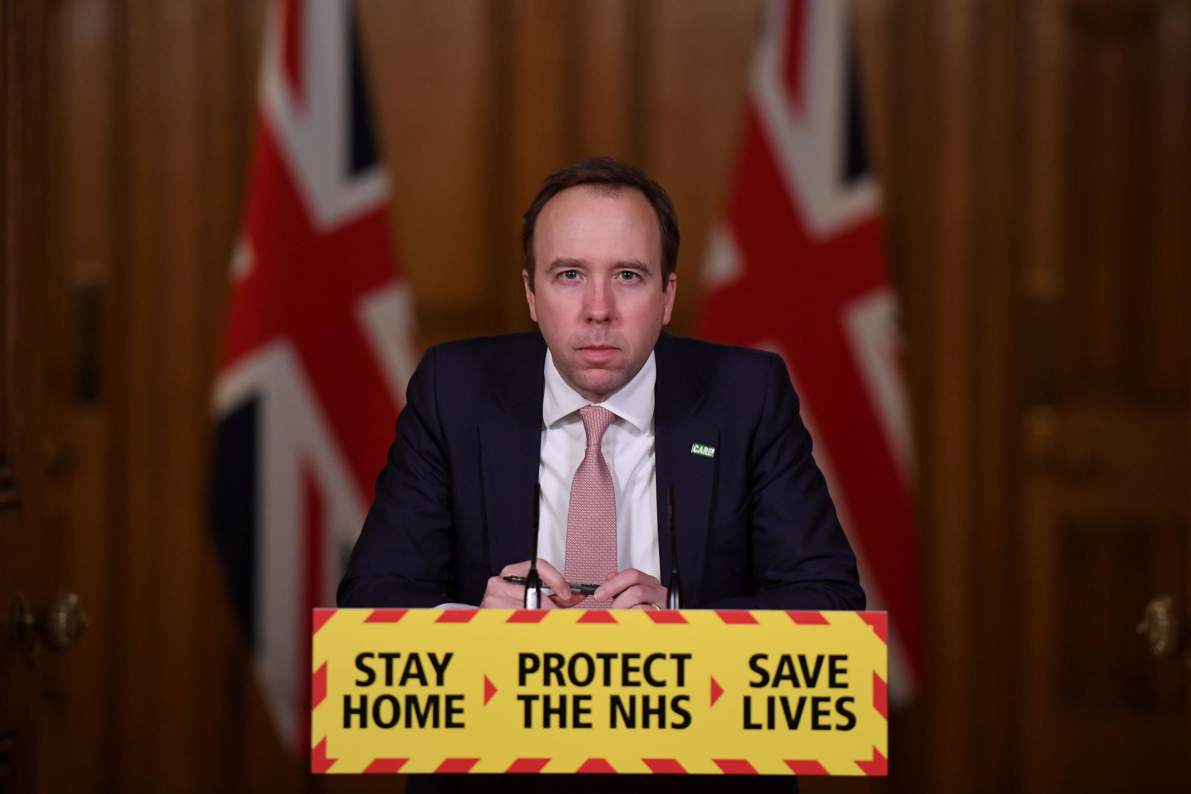 Health Secretary Matt Hancock during a media briefing in Downing Street, London, on coronavirus (Covid-19). Picture date: Monday February 1, 2021..