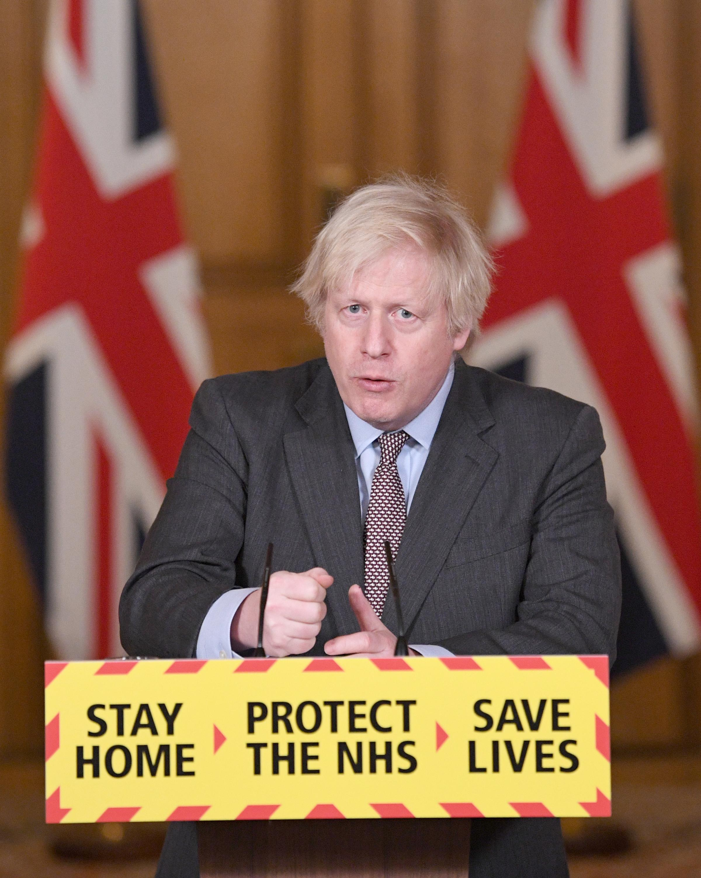 Prime Minister Boris Johnson during a media briefing in Downing Street, London, on coronavirus (Covid-19). Picture date: Wednesday February 3, 2021..