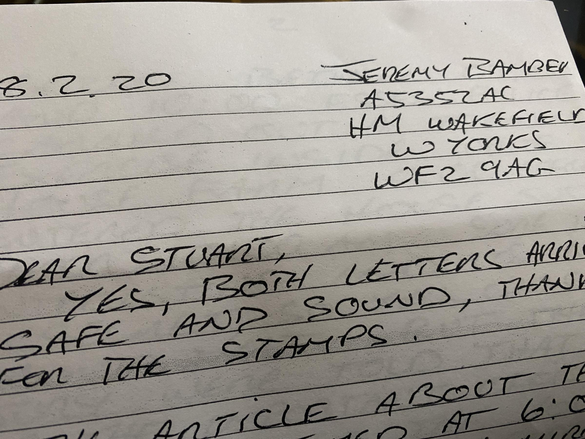 Stuart Bower has been writing letters to Bamber since 2007