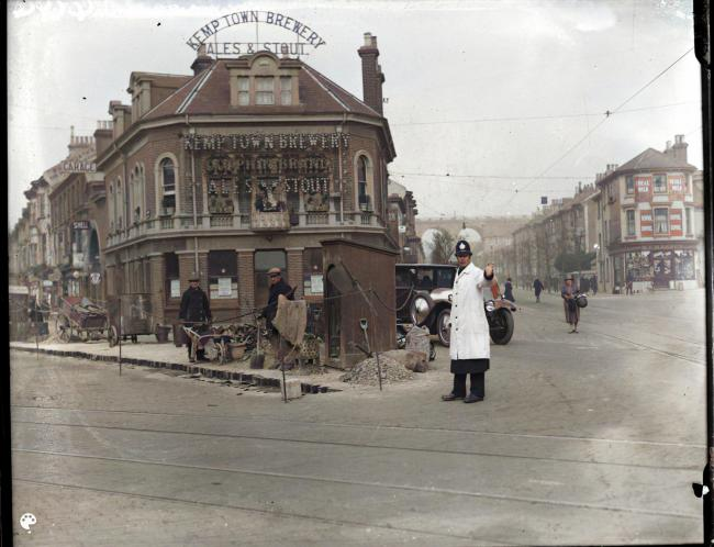 The Kemp Town Brewery at Preston Circus, Brighton, circa 1929